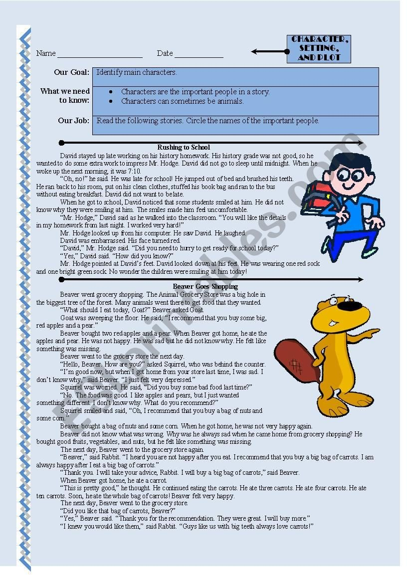 Character Setting and Plot Worksheets Prehension Character Setting and Plot Esl Worksheet