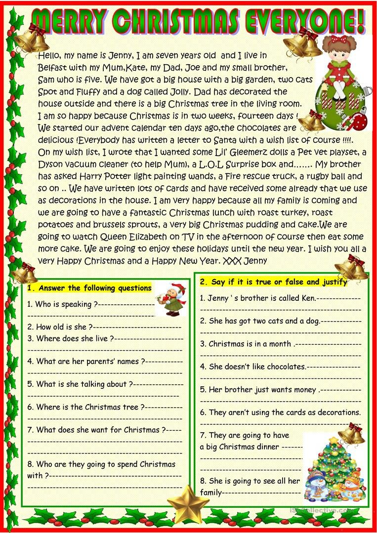 merry christmas everyone reading prehension exercises 1