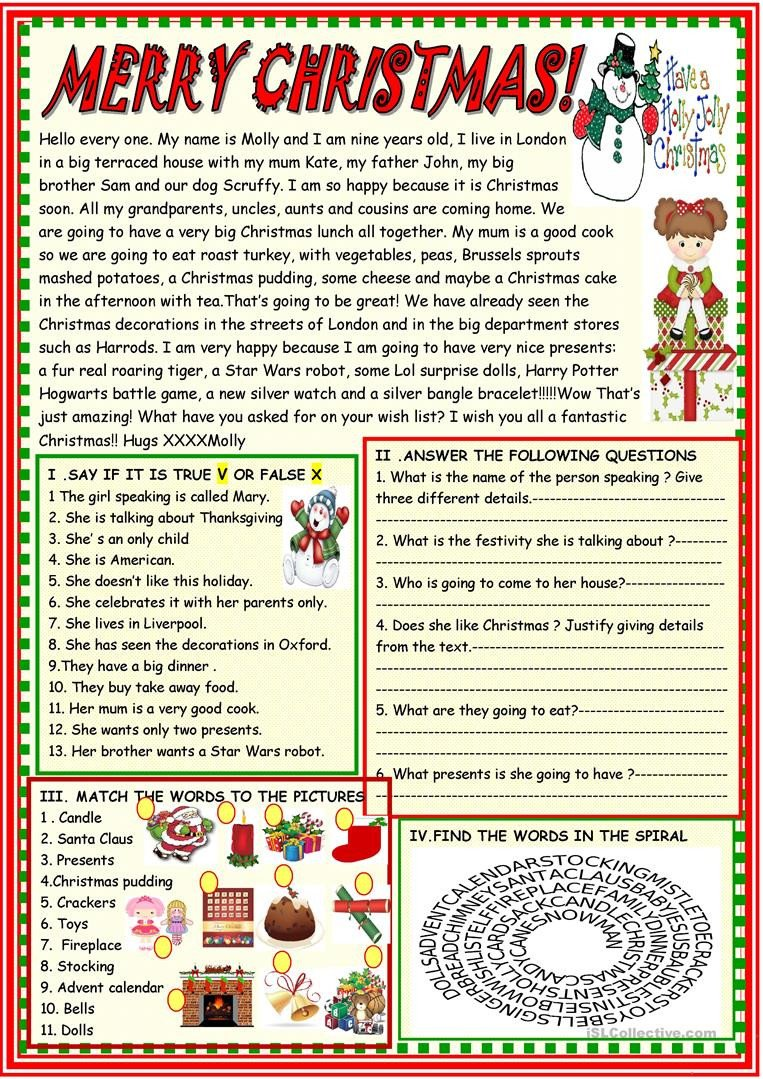 merry christmas multiple activities reading prehension exercises 1