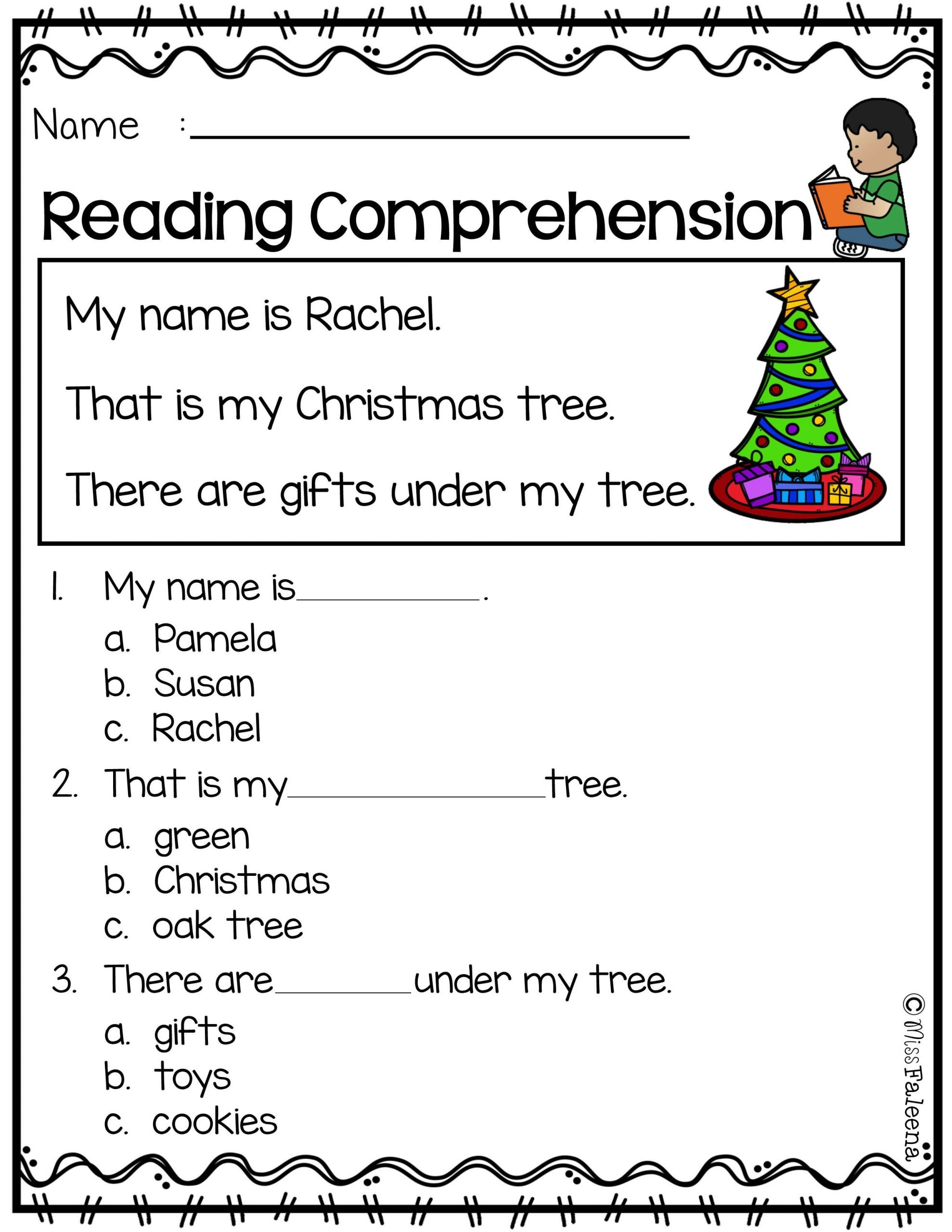 Christmas Reading Comprehension Worksheets Free Reading Prehension
