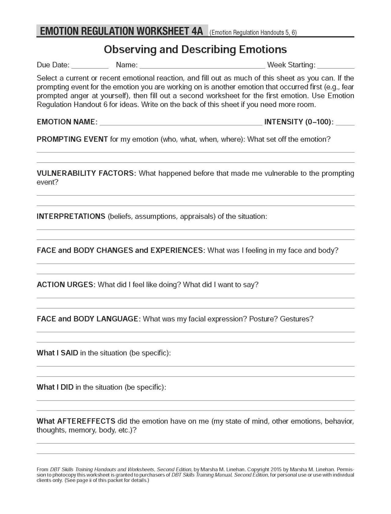 codependency therapy worksheets pdf dbt self help resources observing and describing emotions of codependency therapy worksheets pdf