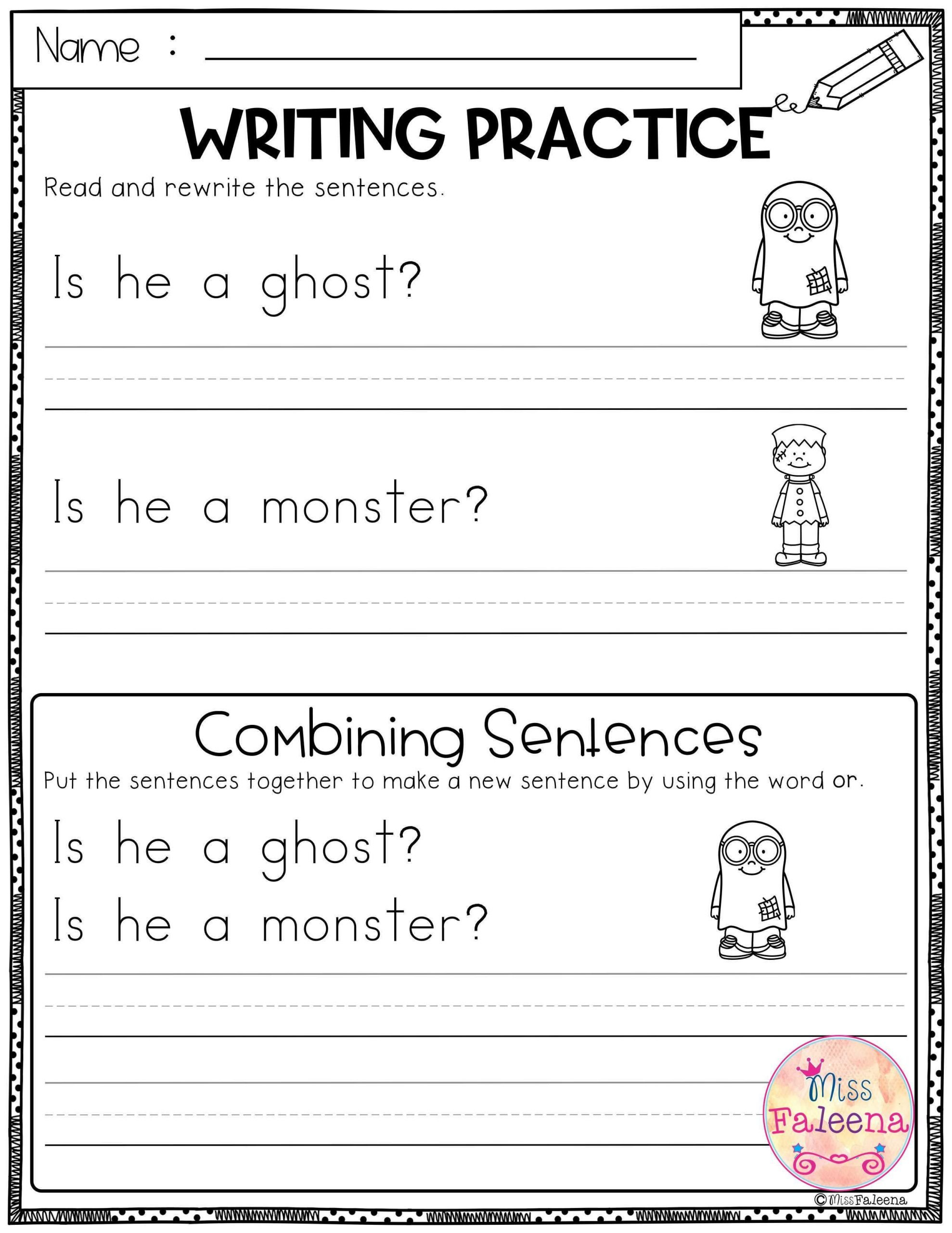 Combining Sentences Worksheet 5th Grade October Writing Practice Bining Sentences