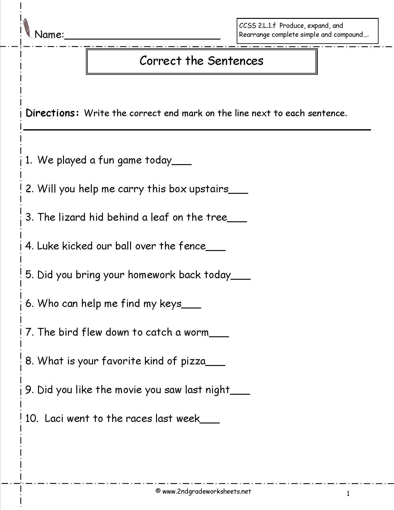 Combining Sentences Worksheet 5th Grade Second Grade Sentences Worksheets Ccss 2 L 1 F Worksheets