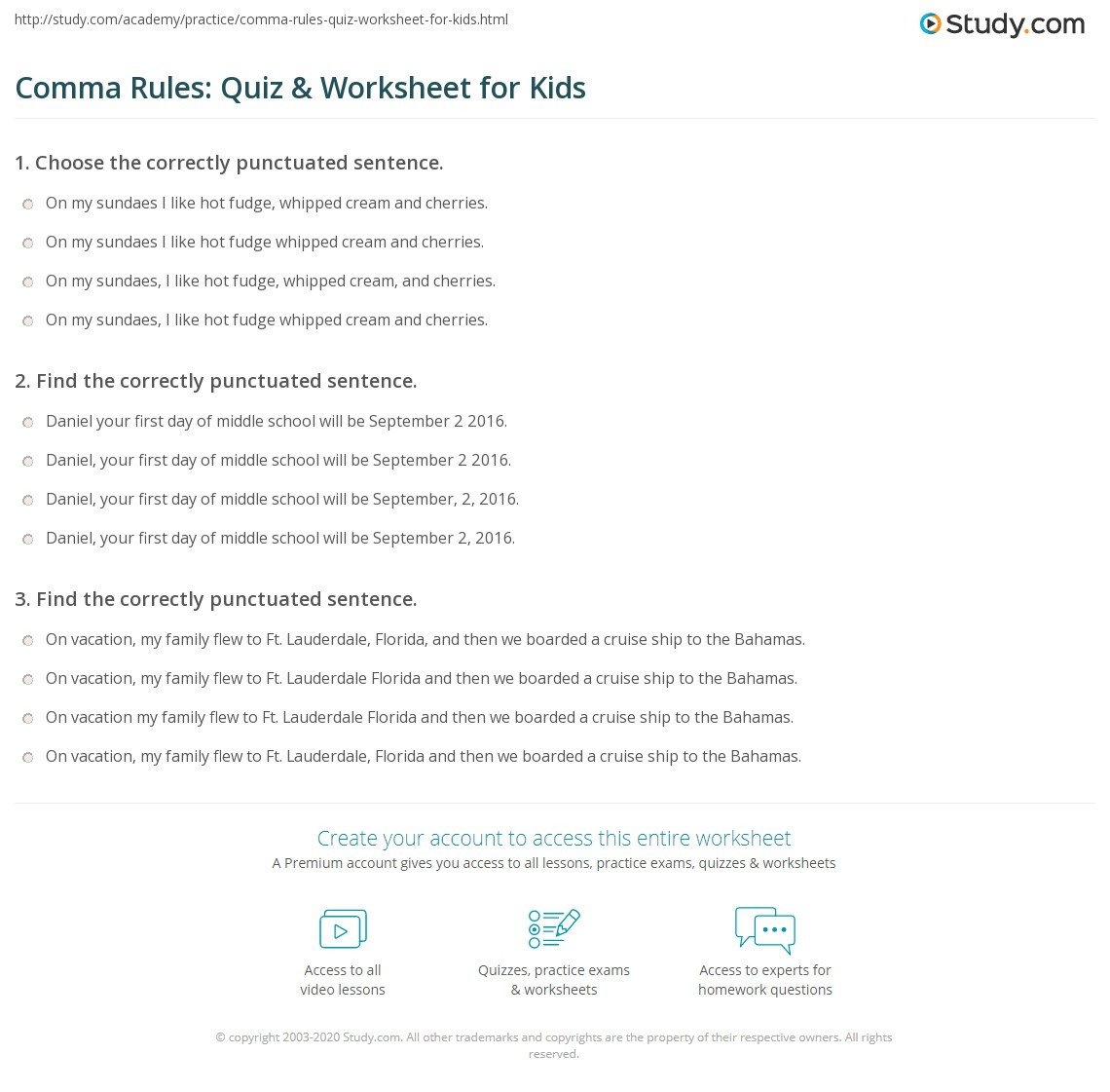 Comma Worksheets Middle School Ma Rules Quiz & Worksheet for Kids