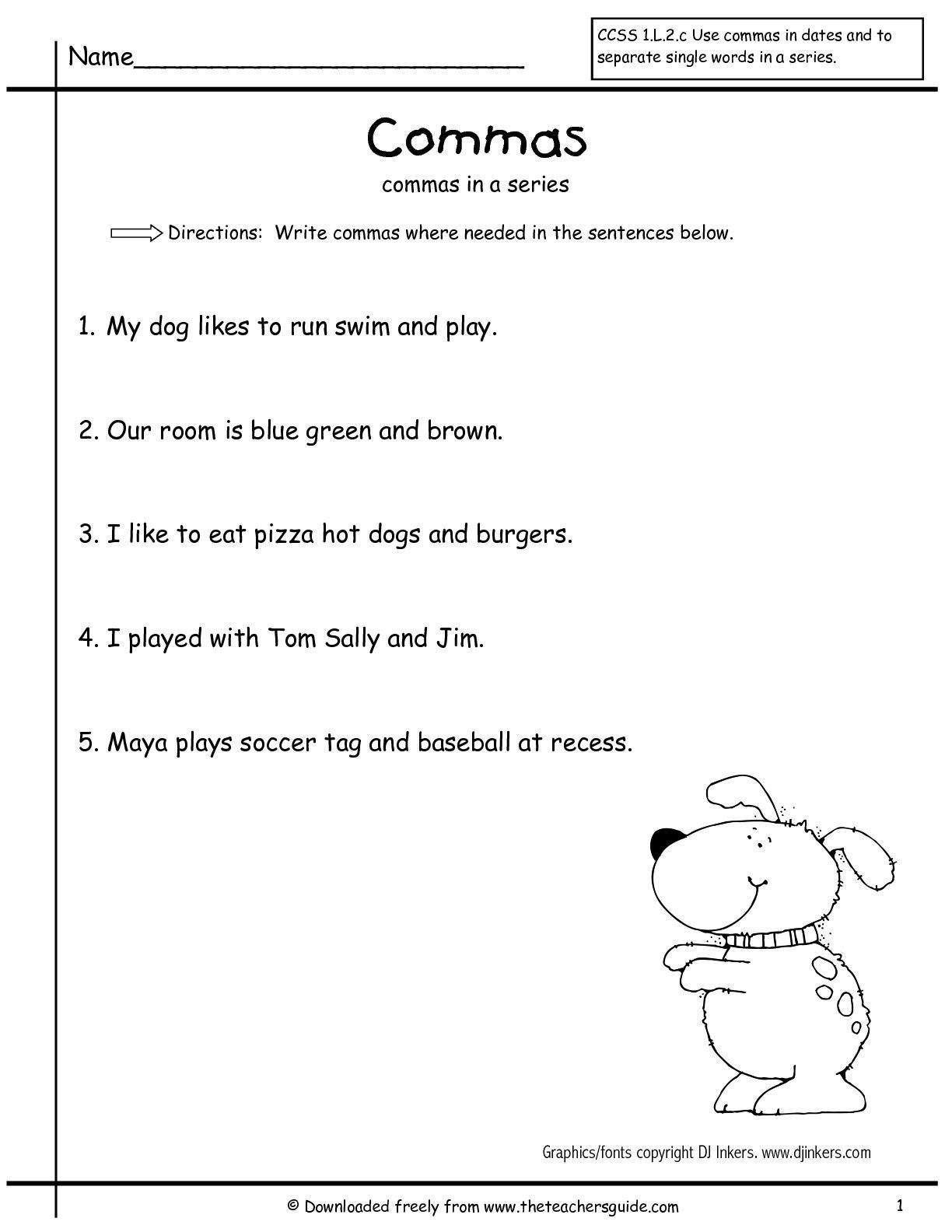 Comma Worksheets Middle School Masinseriesfirstgrade2 001 001 1224—1584