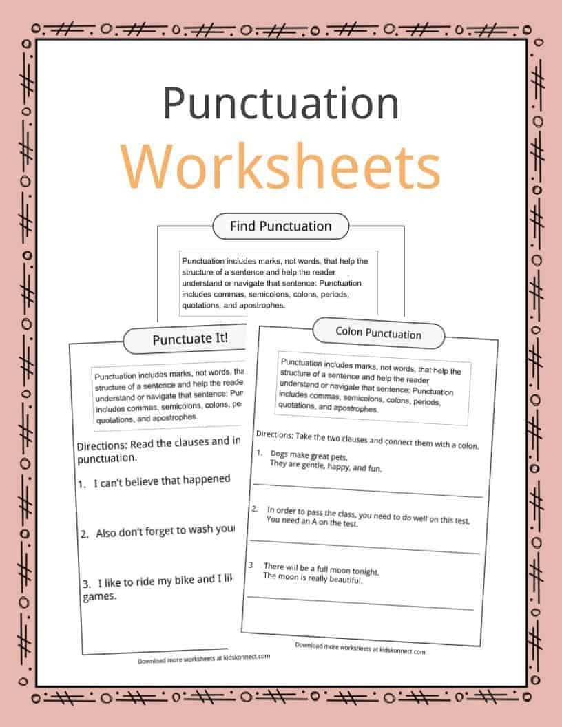 Comma Worksheets Middle School Punctuation Examples Worksheets & Description for Kids