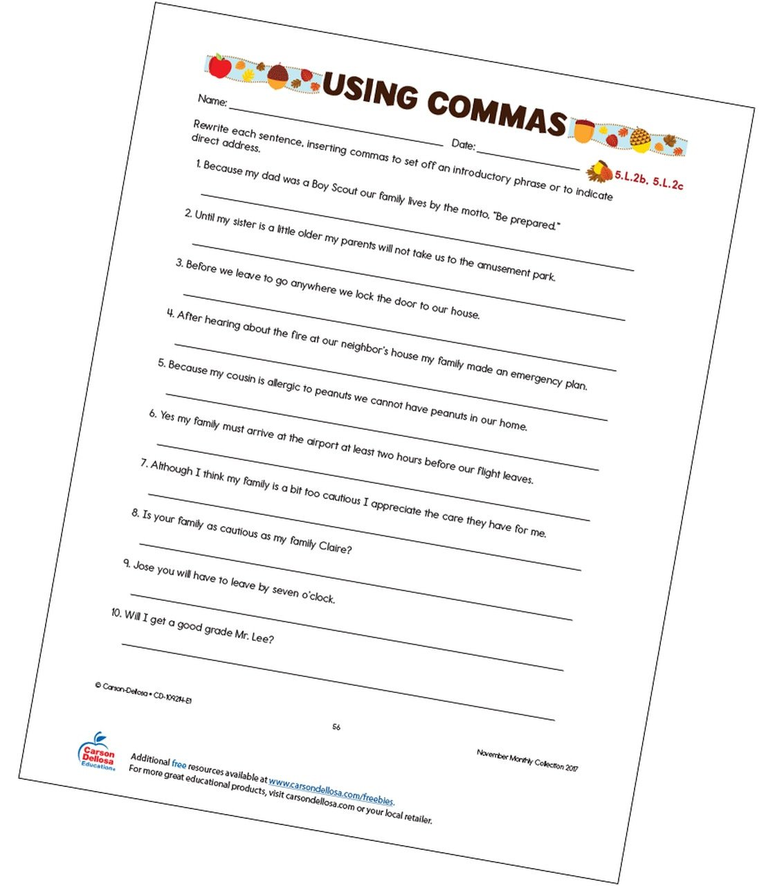 Comma Worksheets Middle School Using Mas Free Printable