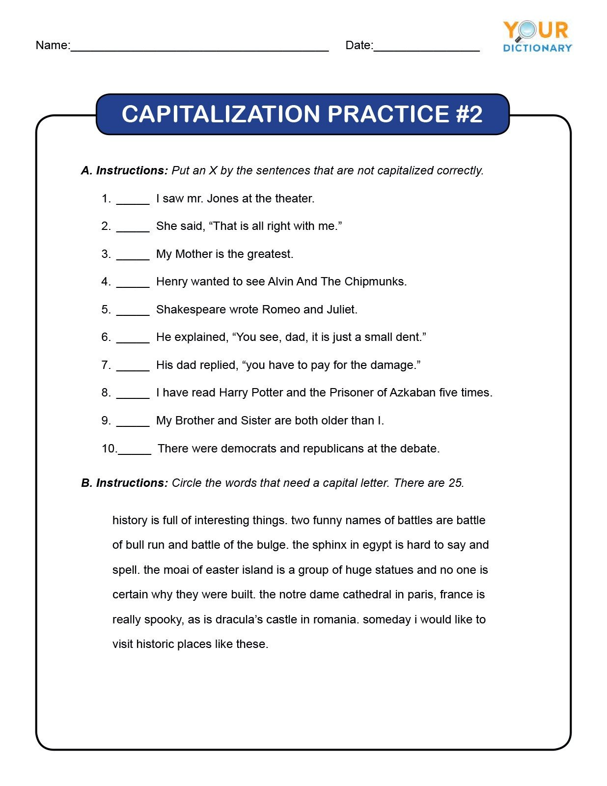 Commas Worksheet 4th Grade 4th Grade Capitalization Worksheets