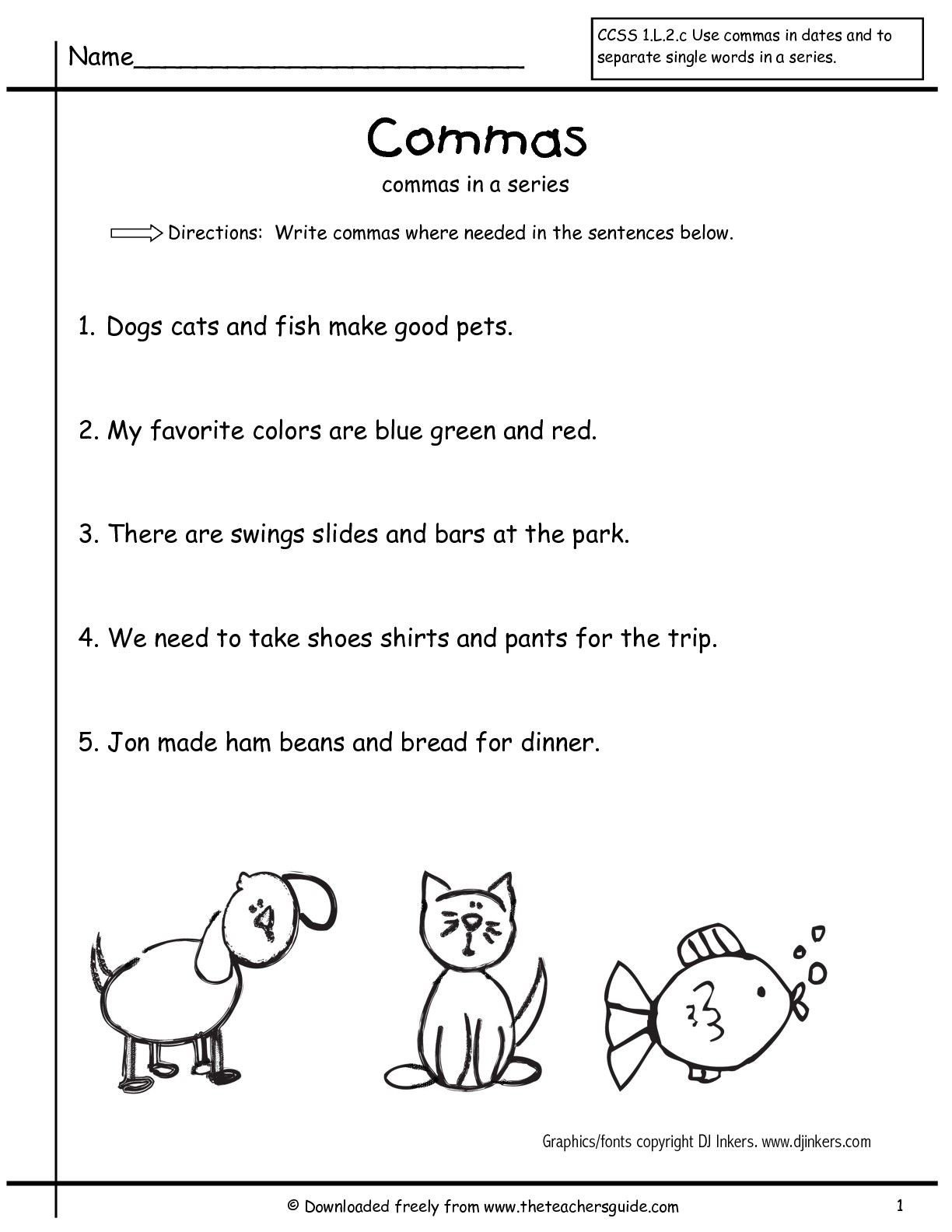 Commas Worksheet 4th Grade Wonders Second Grade Unit Two Week E Printouts