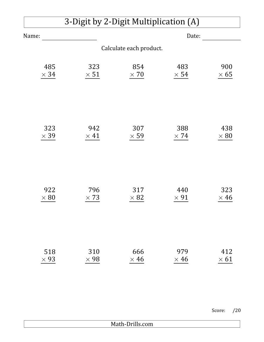 Commas Worksheet 4th Grade Worksheet Multiplying Digit by Numbers with Ma