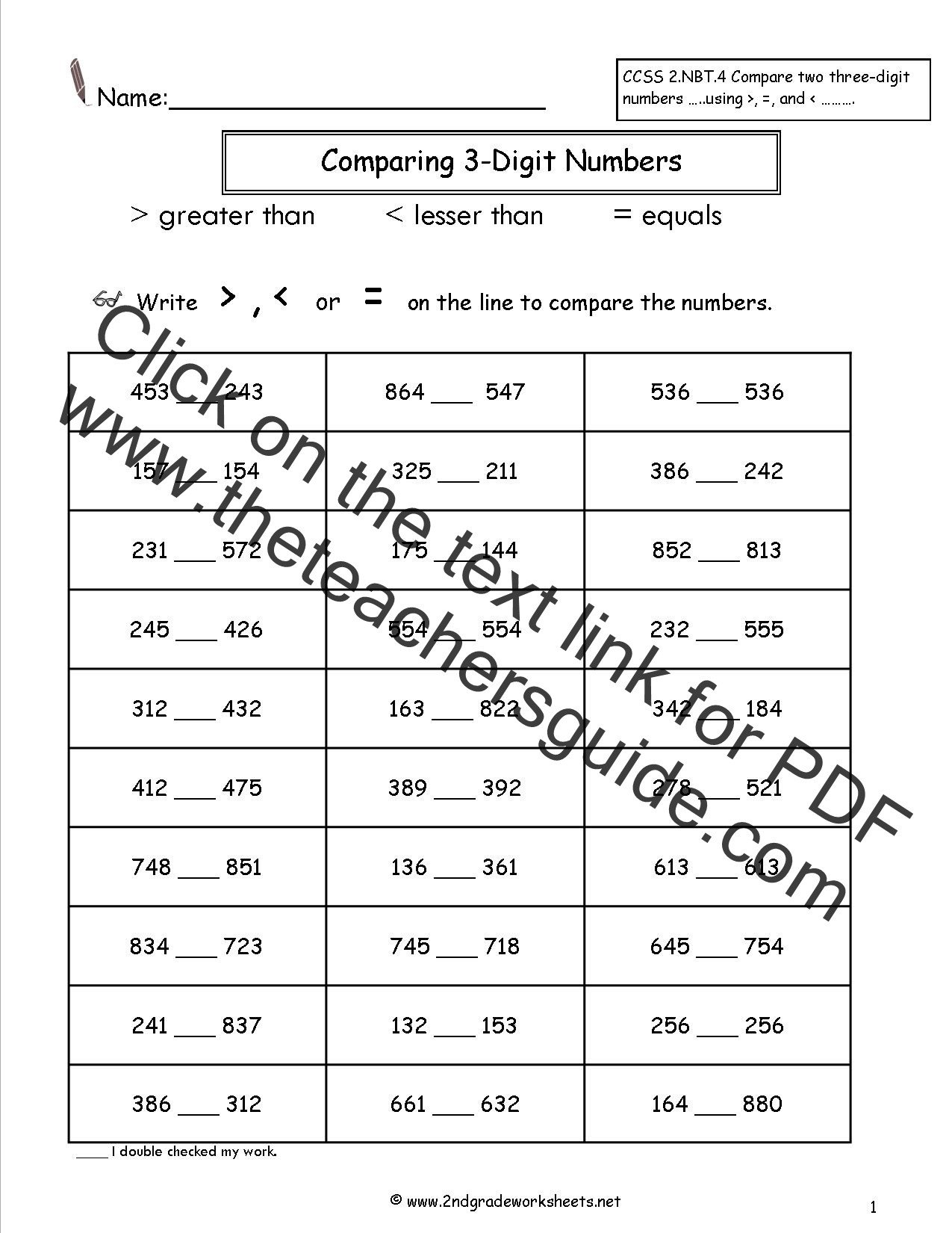paring Two and Three Digit Numbers Worksheets