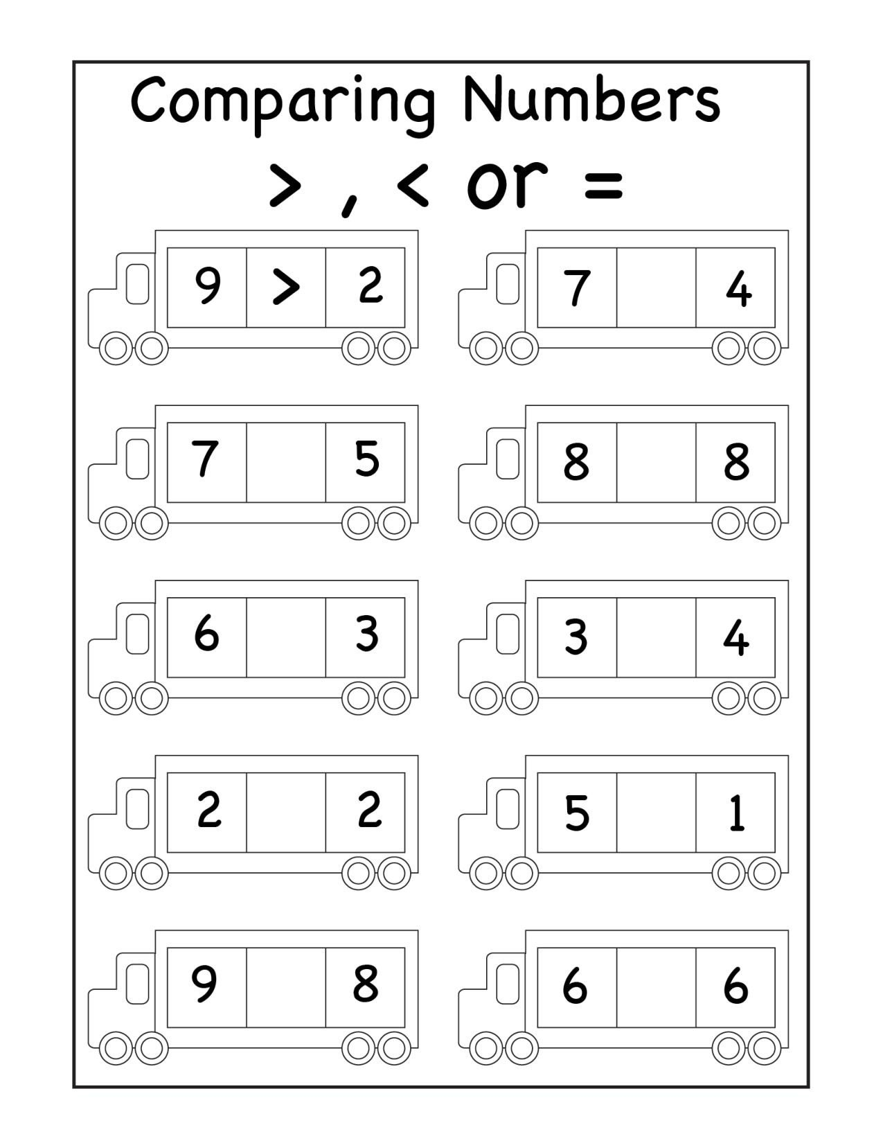 wfun15 greater less equal 1 page paring numbers worksheets calculator video for first grade free