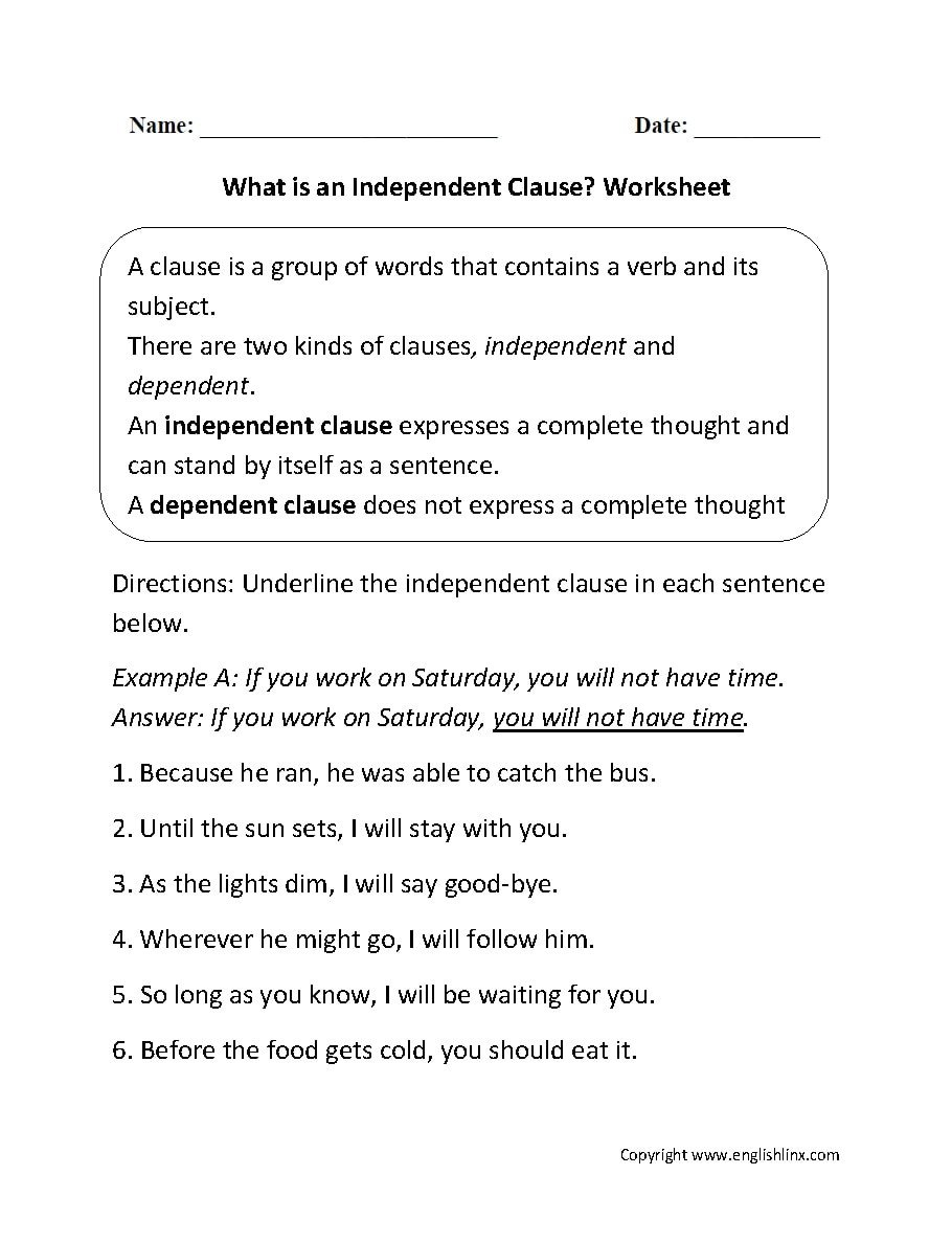 Complete and Incomplete Sentence Worksheets Independent Clause Examples with Worksheet Samples In Pdf