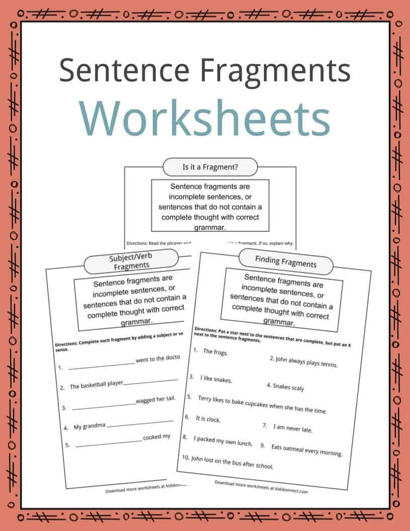 Sentence Fragments Worksheets 3