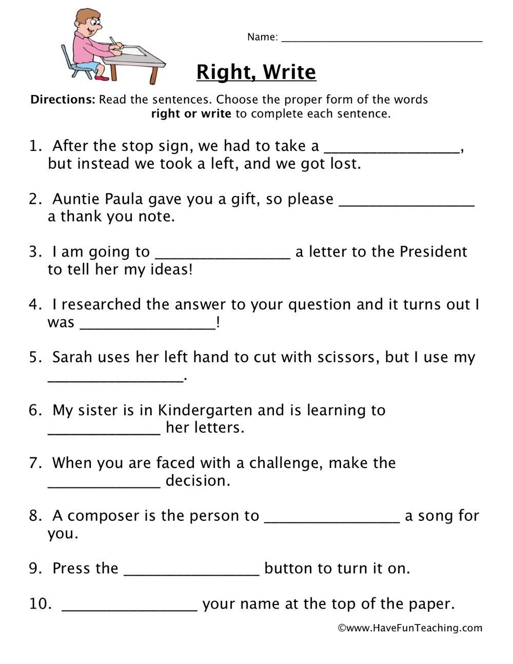Complete Sentences Worksheets 4th Grade Right Write Homophones Worksheet