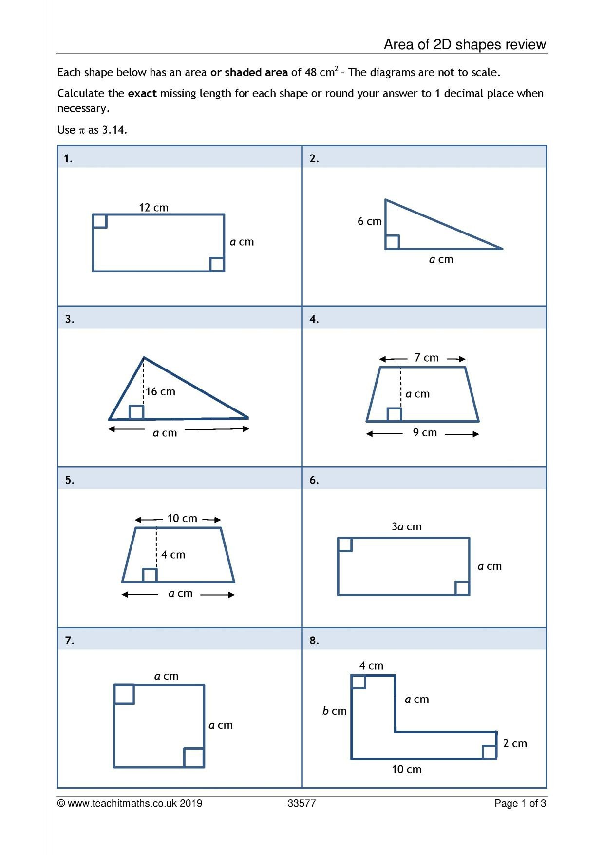 Compound area Worksheets Ks4 Geometry and Measure