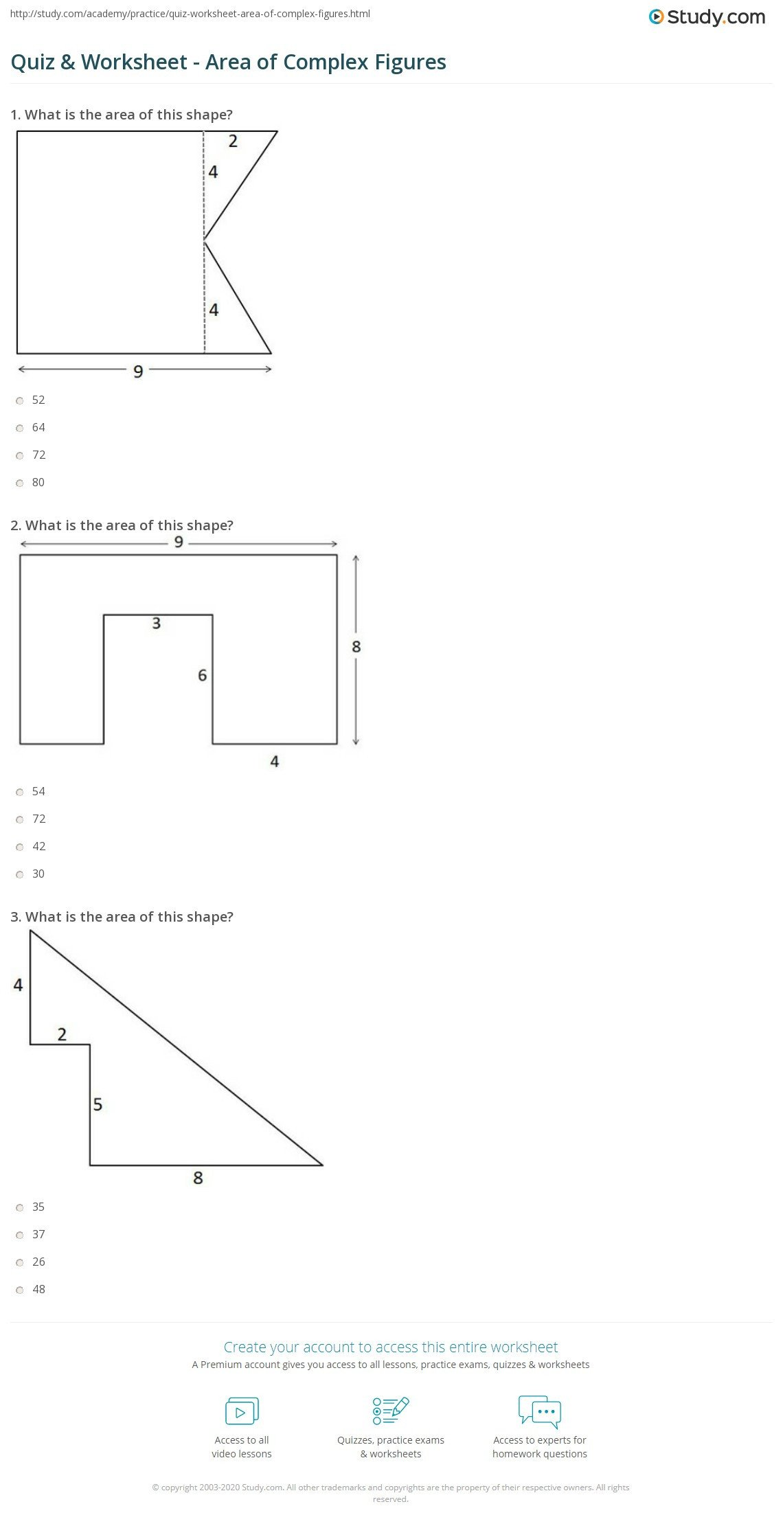 quiz worksheet area of plex figures