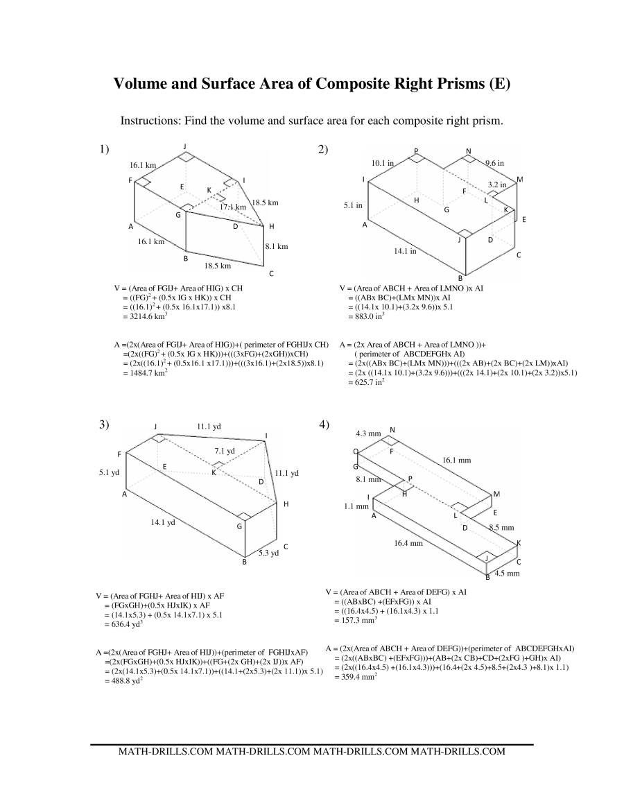 Compound area Worksheets Volume and Surface area Of Posite Based Prisms