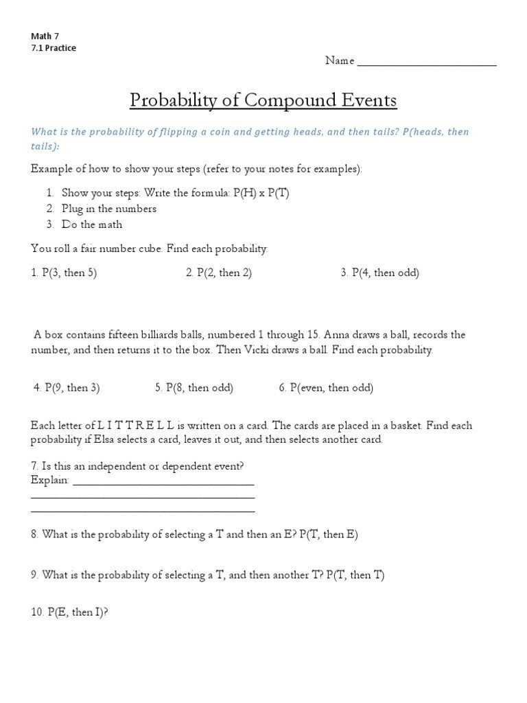 Compound events Worksheets 7 3 Pound event Ws Precision Sports