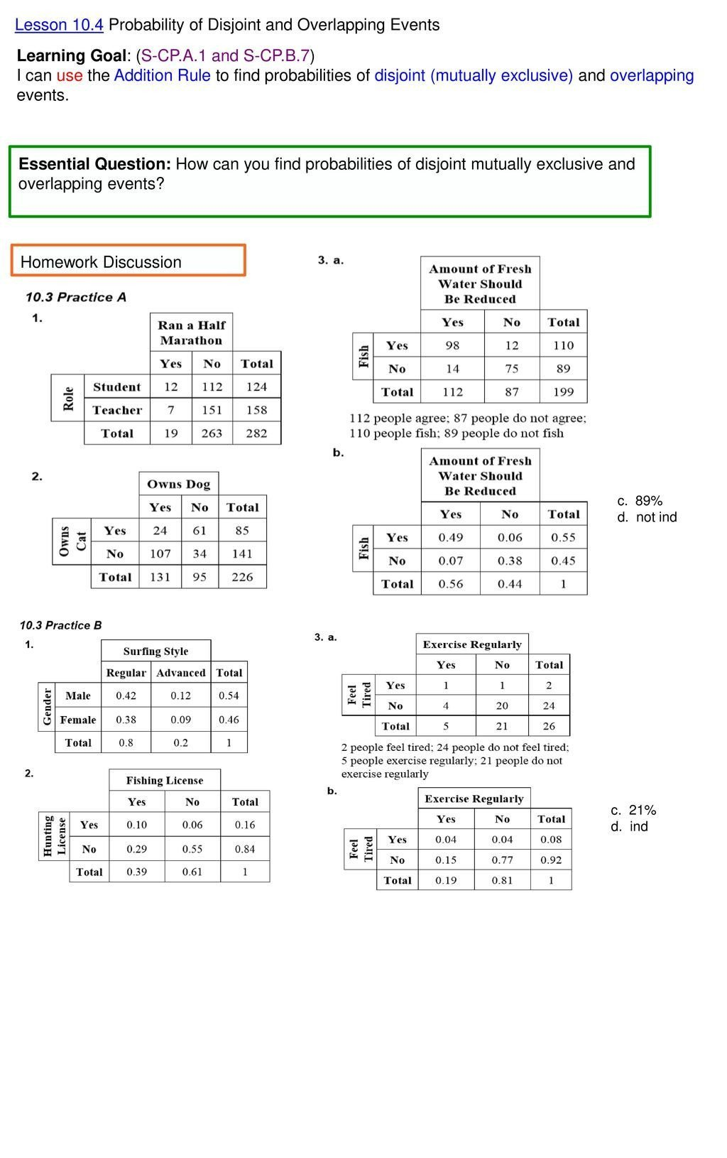 dependent probability worksheet with answers lesson 10 4 probability of disjoint and overlapping events of dependent probability worksheet with answers