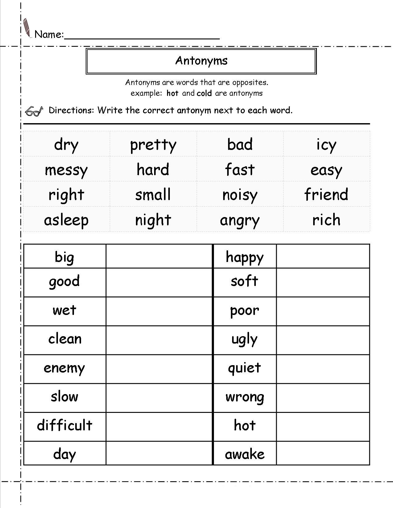 2nd Grade English Worksheets Antonyms