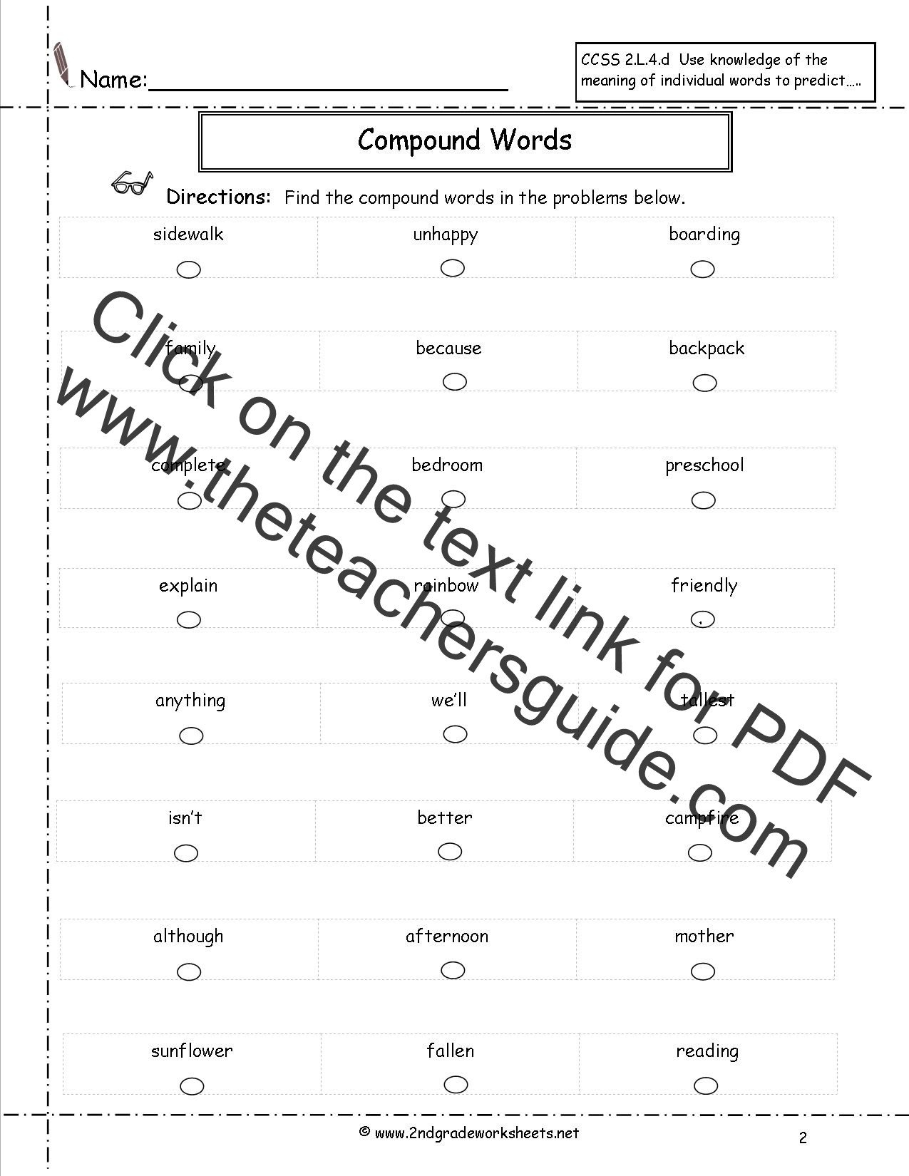 Compound Word Worksheet 2nd Grade Pound Words Worksheets