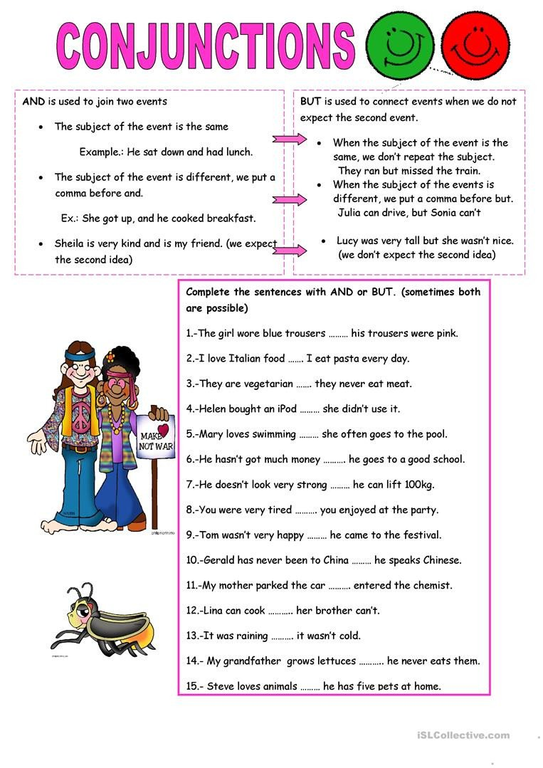 Conjunction Worksheets Pdf Conjunctions and but English Esl Worksheets for Distance