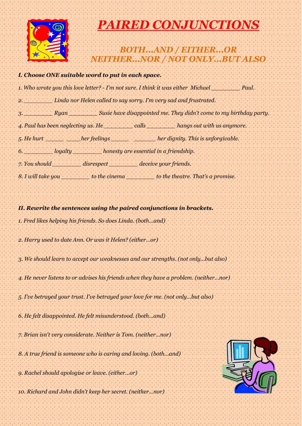 Conjunction Worksheets Pdf Paired Conjunctions Conjunctions Worksheet