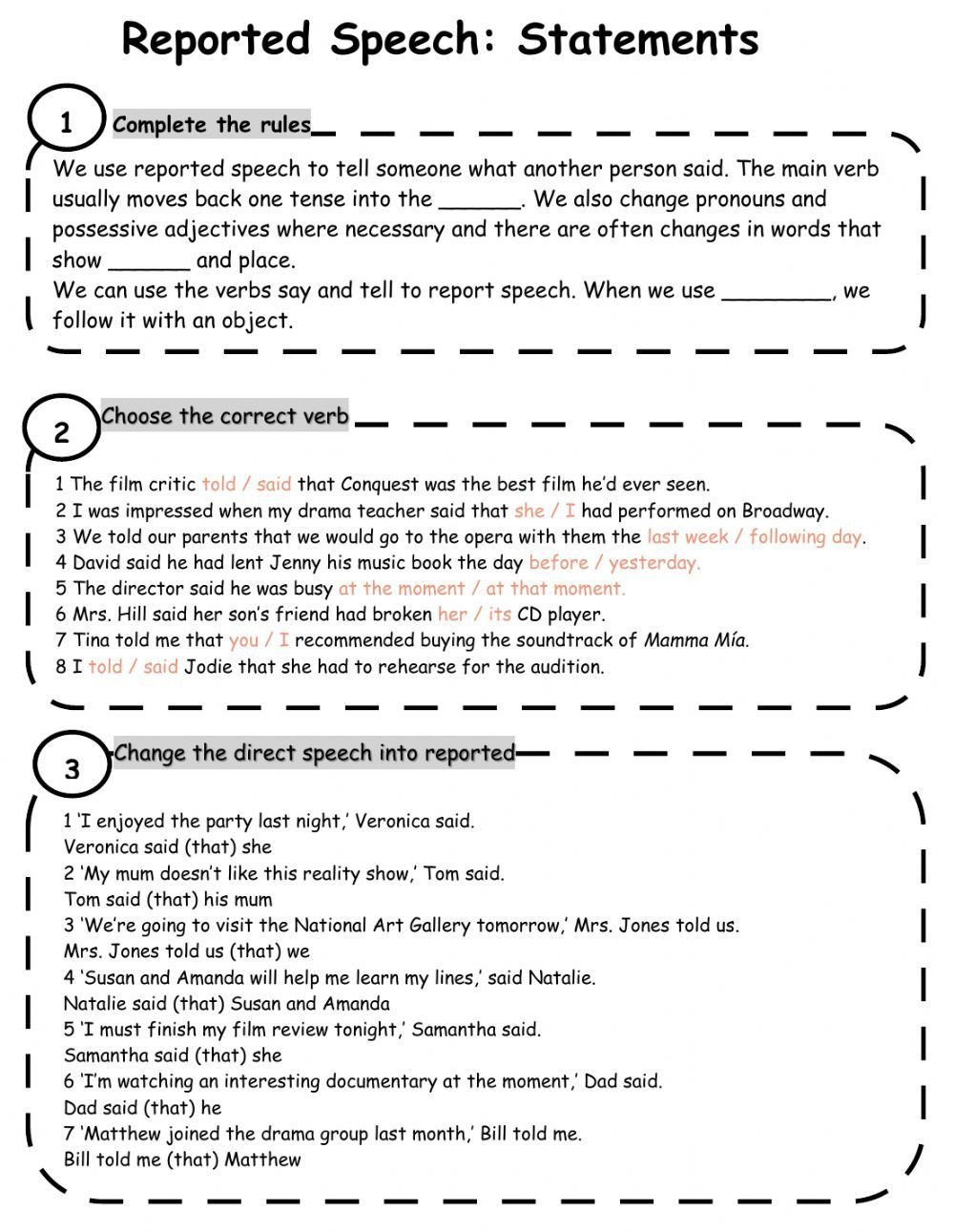 Conjunction Worksheets Pdf Reported Speech Interactive and Able Worksheet You