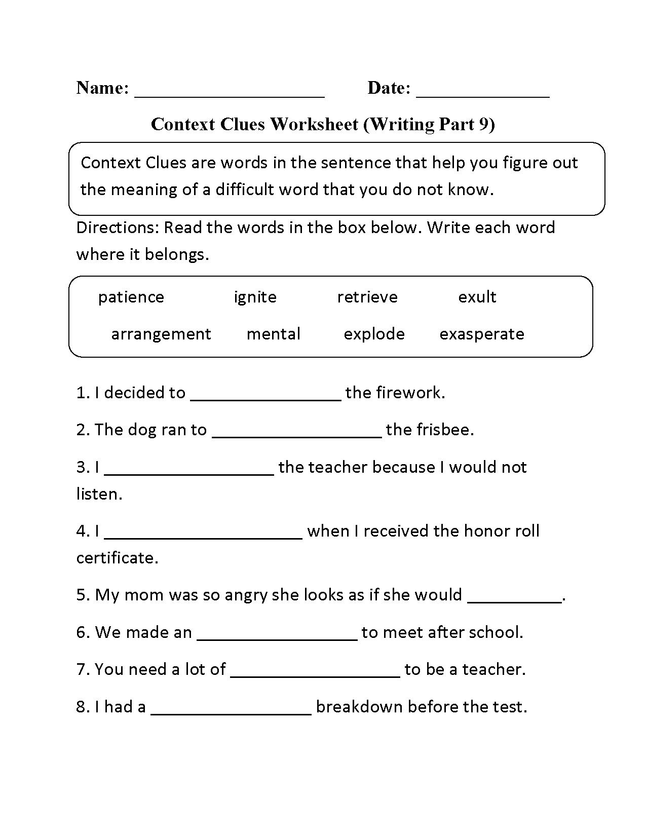 Context Clues Worksheets Second Grade Context Clues English Worksheet