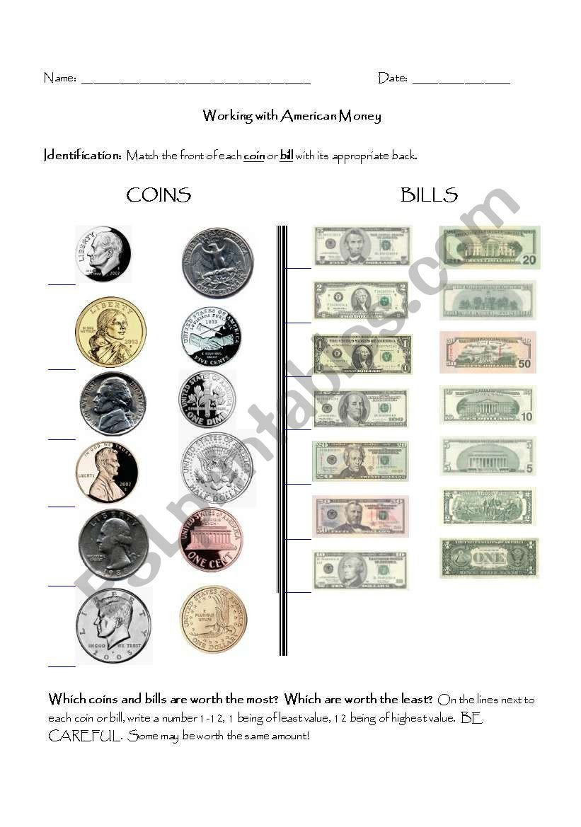 Counting Bills and Coins Worksheets Counting American Money Esl Worksheet by Aegw01