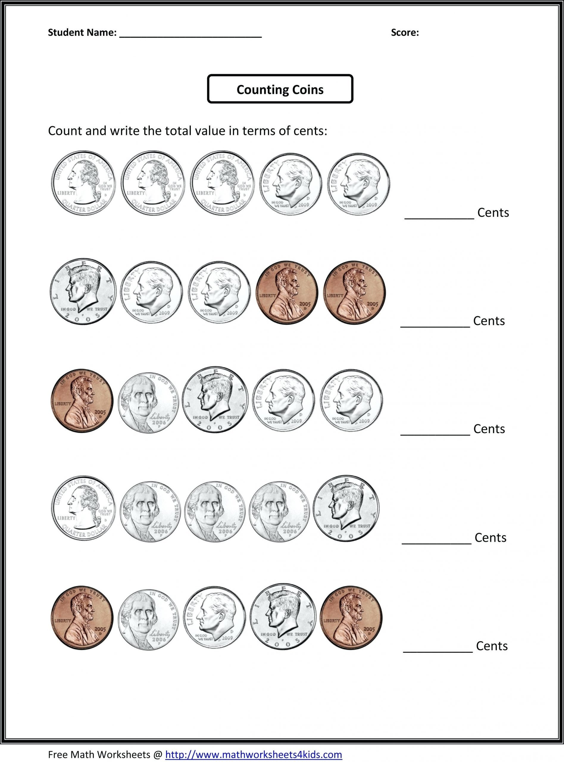 Counting Coins Worksheets First Grade 66 Fun Money Worksheets to Print