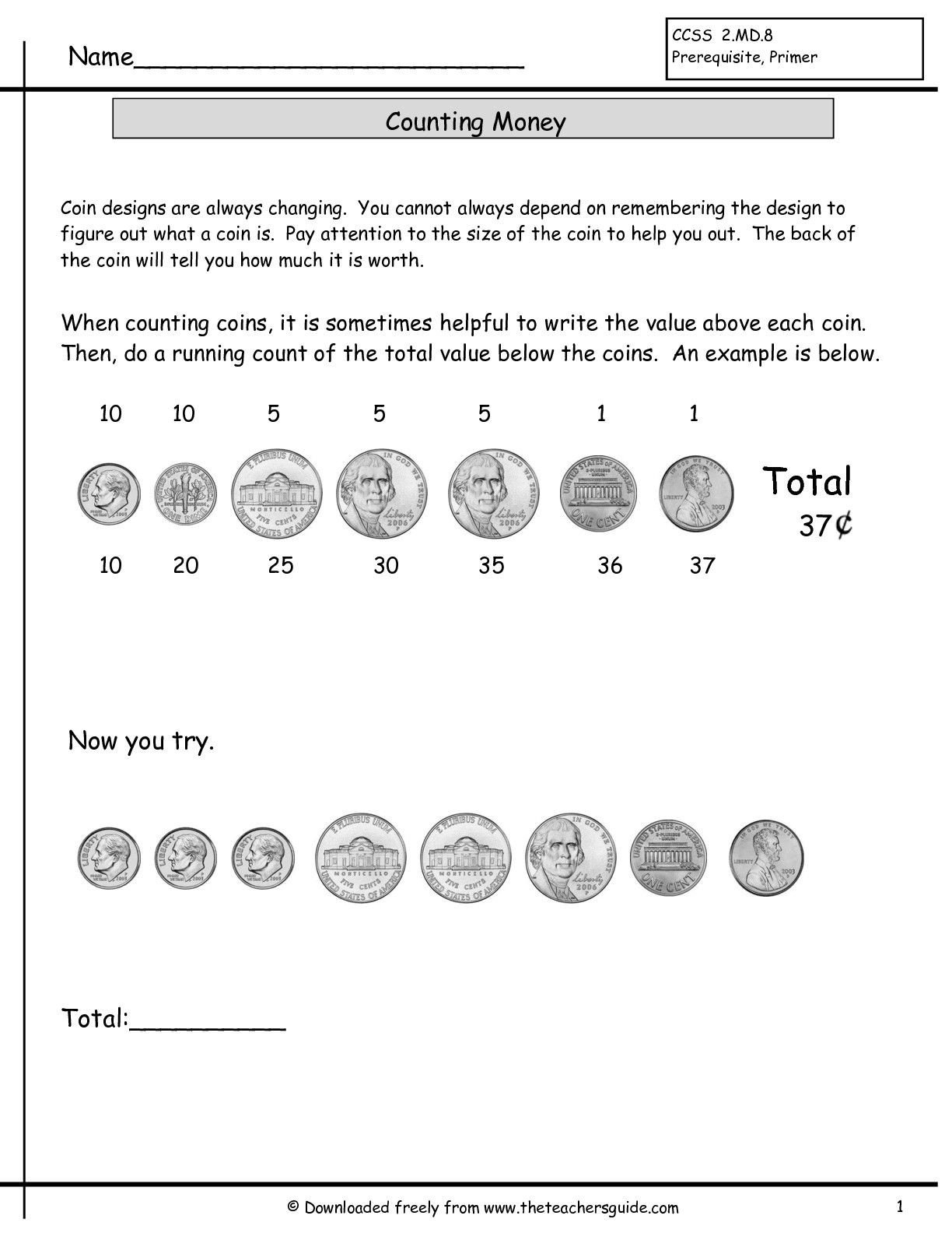 Counting Coins Worksheets First Grade Counting Coins Practice Worksheet