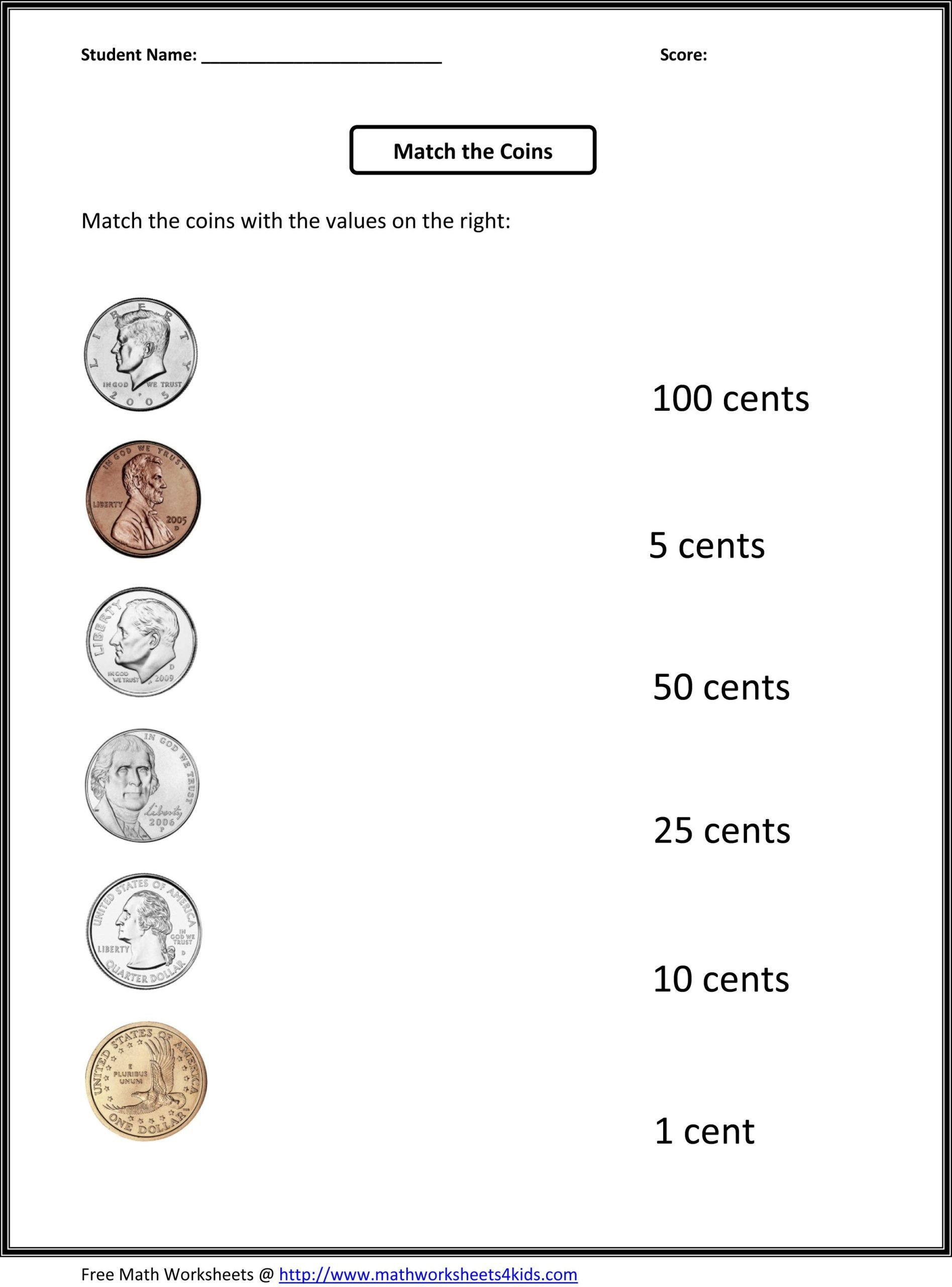 Counting Coins Worksheets First Grade Free 1st Grade Worksheets Match the Coins and Its Values