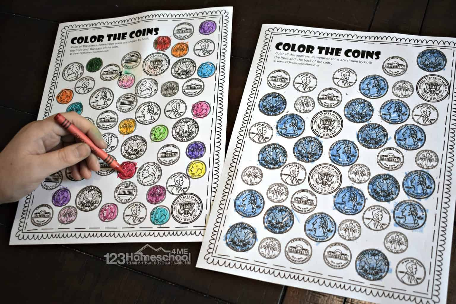 Counting Coins Worksheets First Grade Free Color the Coins Money Worksheets