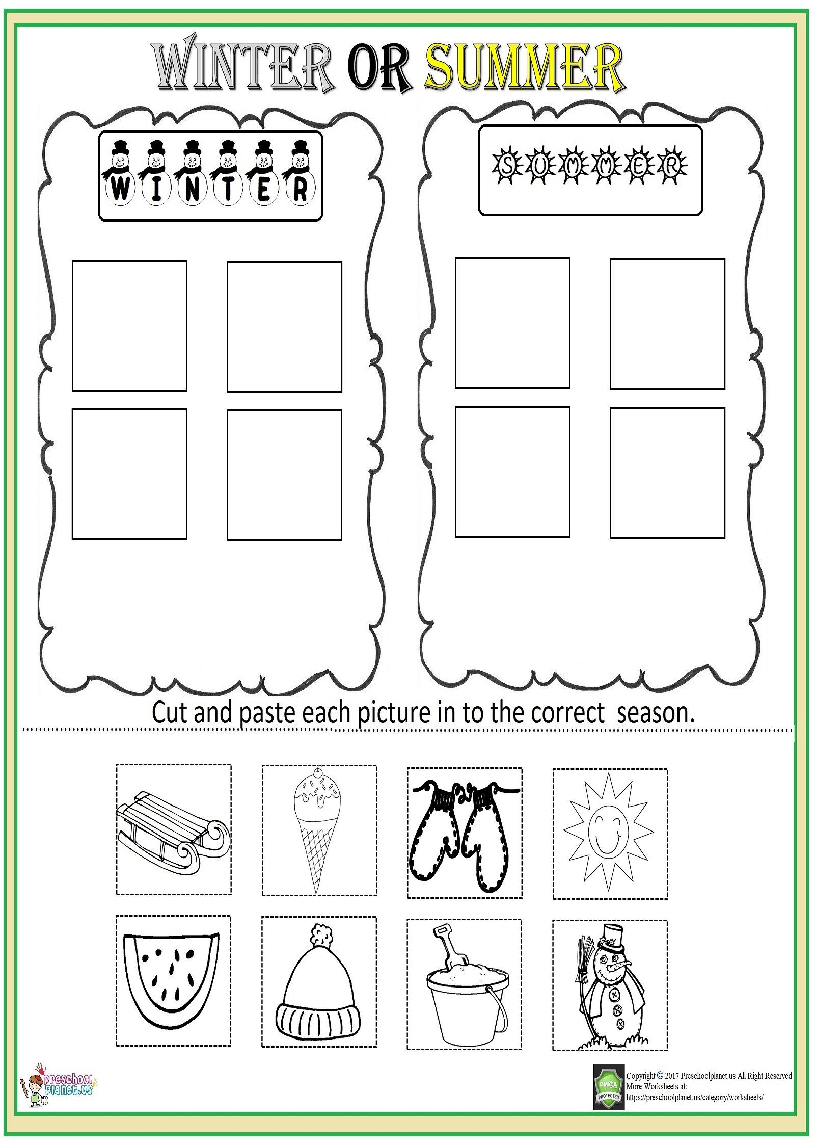 Counting Cut and Paste Worksheets Cut and Paste Season Worksheet – Preschoolplanet