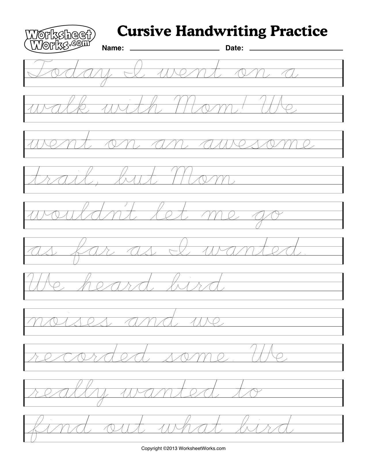 Cursive Sentences Worksheets Printable Cursive Handwriting Worksheets