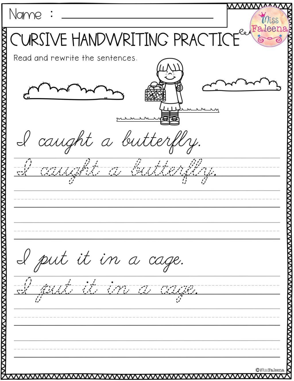 Cursive Sentences Worksheets Printable Worksheet Practice Cursiveiting Sentences Worksheets Pdf