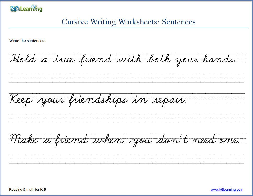 Cursive Sentences Worksheets Printable Worksheets Cursive Writing Worksheets Handwriting Practice