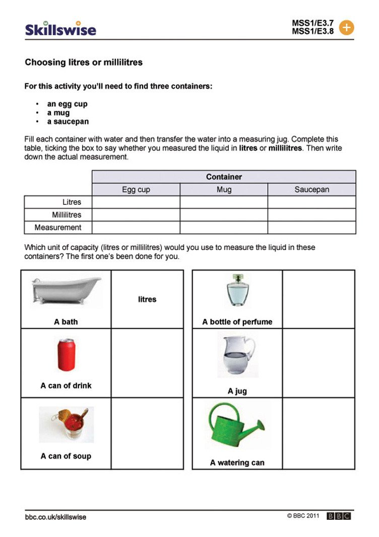 Customary Capacity Worksheets Litres Worksheet Year 3