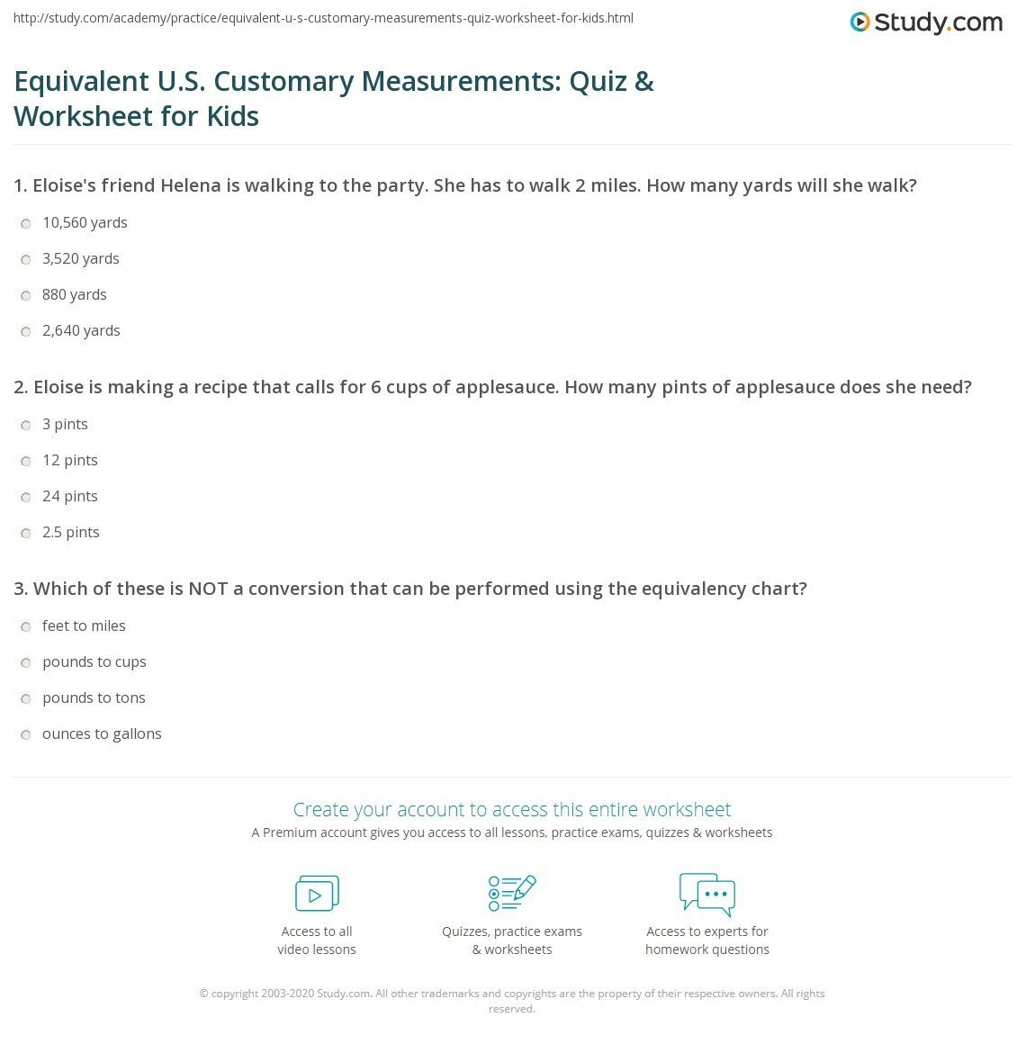 equivalent u s customary measurements quiz worksheet for kids