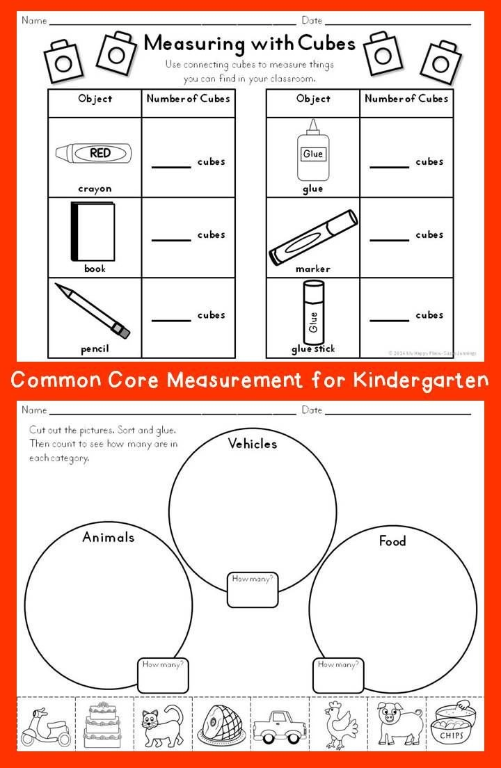 Customary Capacity Worksheets Measurement for Kindergarten
