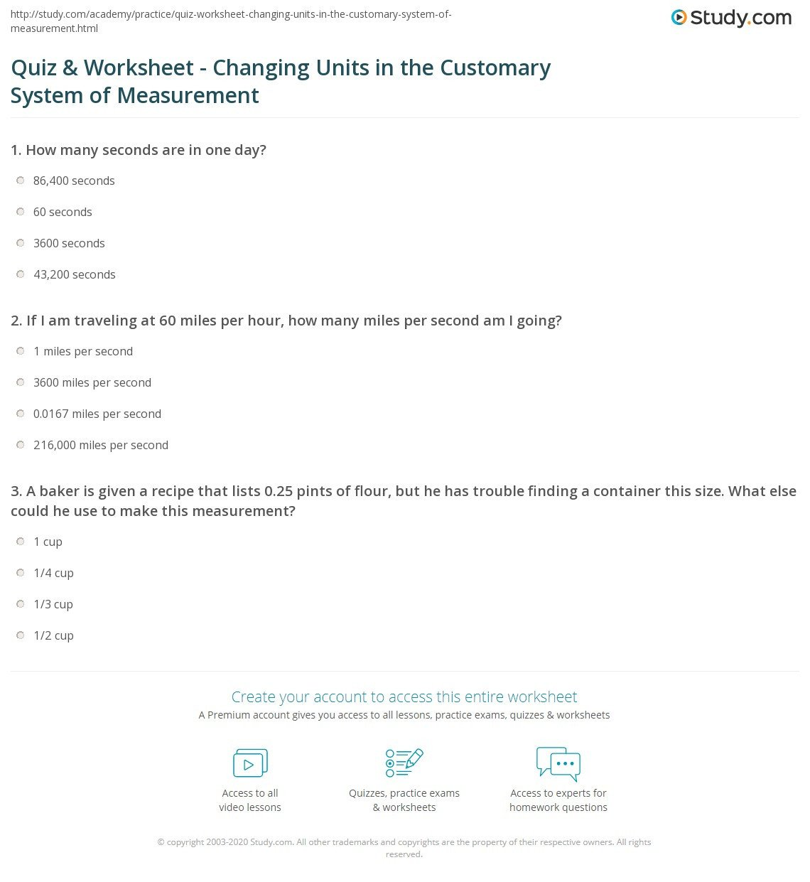 Customary Unit Conversion Worksheet Quiz & Worksheet Changing Units In the Customary System Of