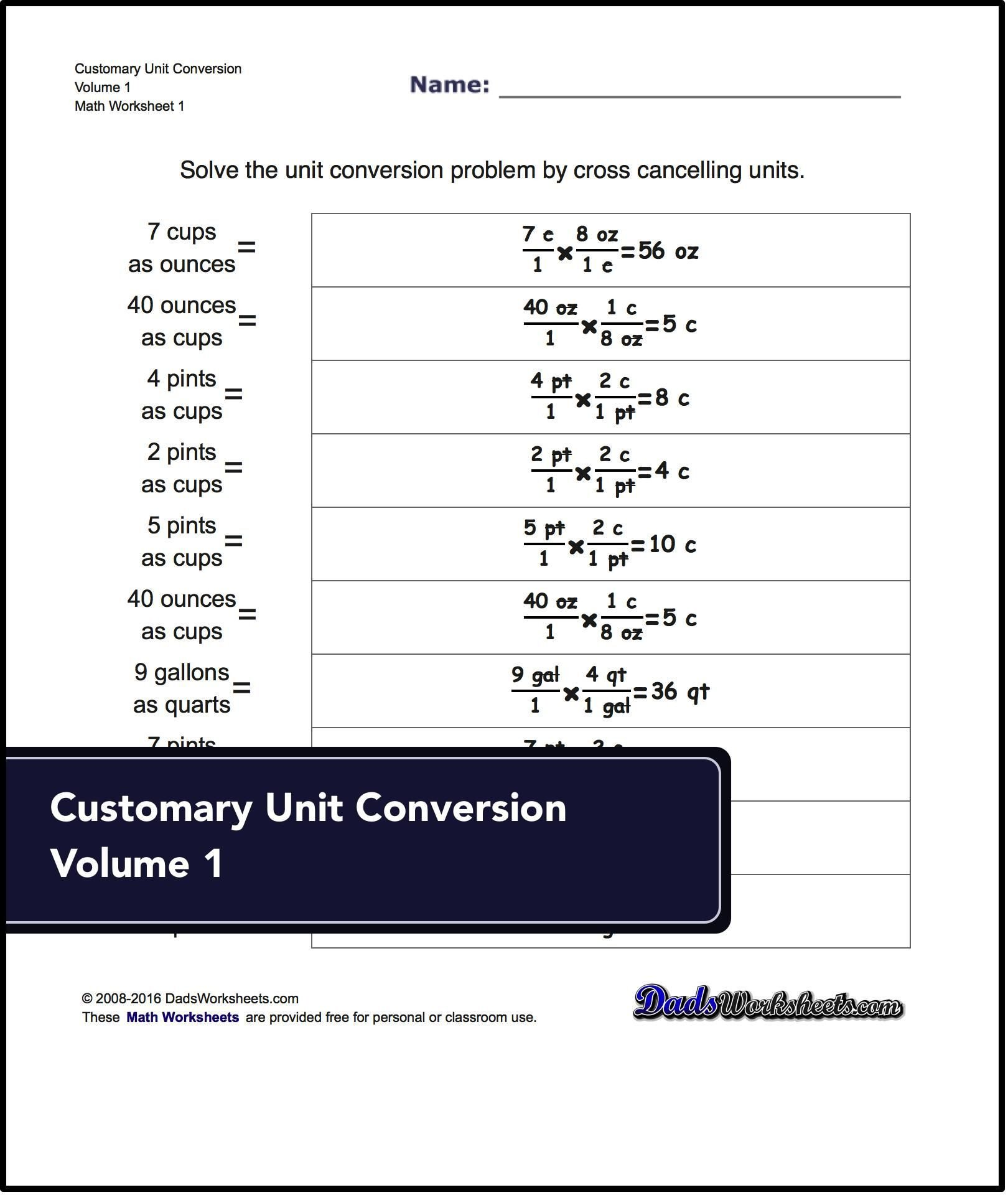 Customary Unit Conversion Worksheet Unit Conversion Worksheets for Converting Customary Volume