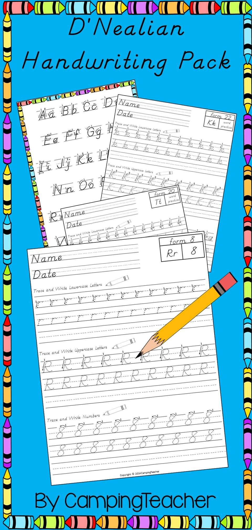 D Nealian Alphabet Worksheets D Nealian Writing Pack Handwriting Practice