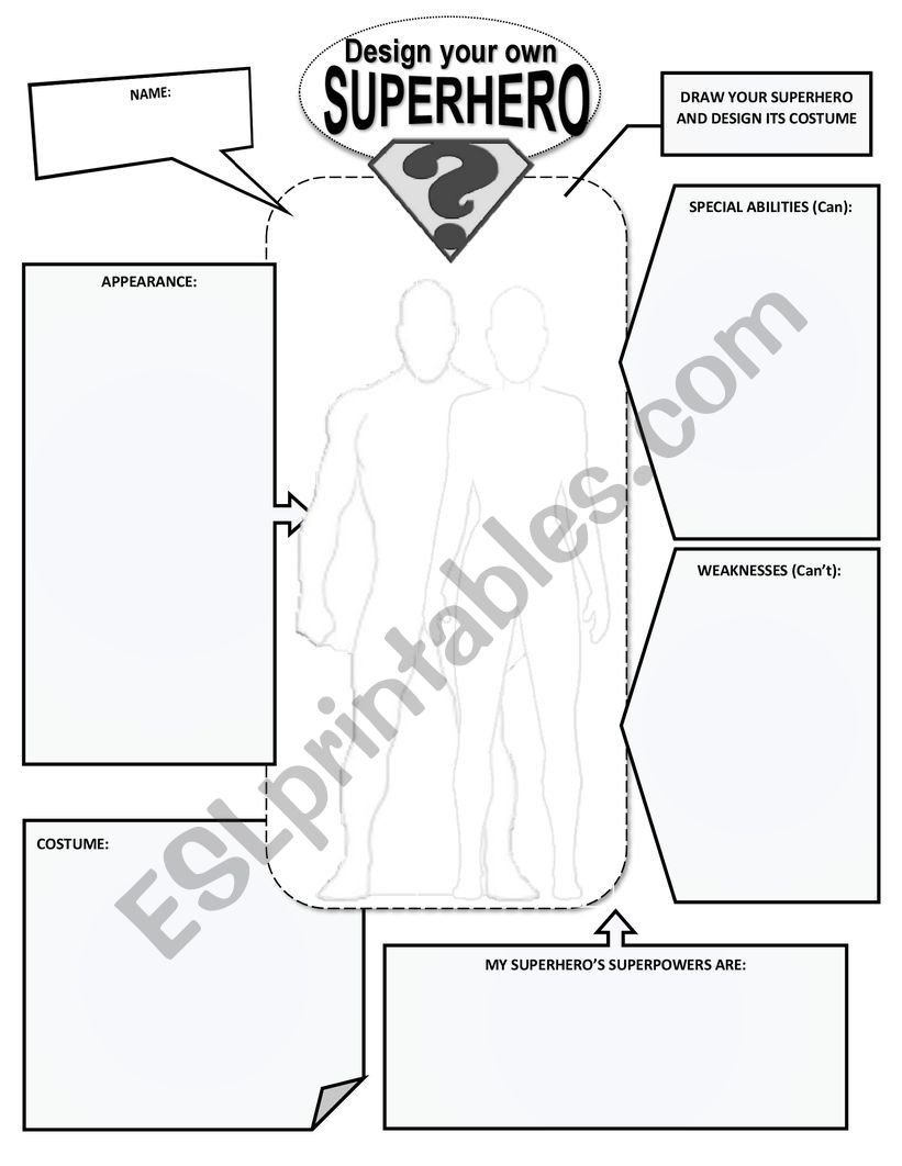 Design Your Own Superhero Worksheet Create and Design Your Superhero Worksheet Esl Worksheet