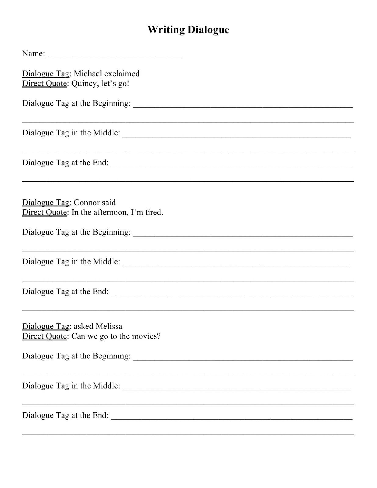 Dialogue Worksheets for Middle School Dialogue Writing Activity Third