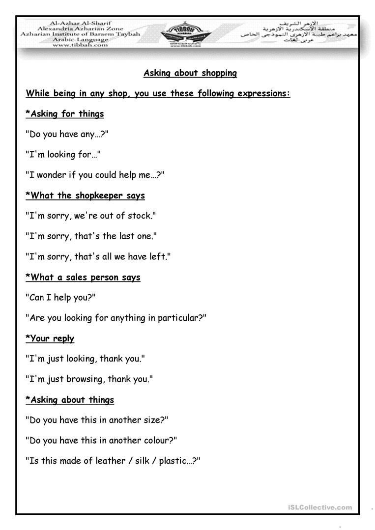 Dialogue Worksheets for Middle School Shopping Dialogue