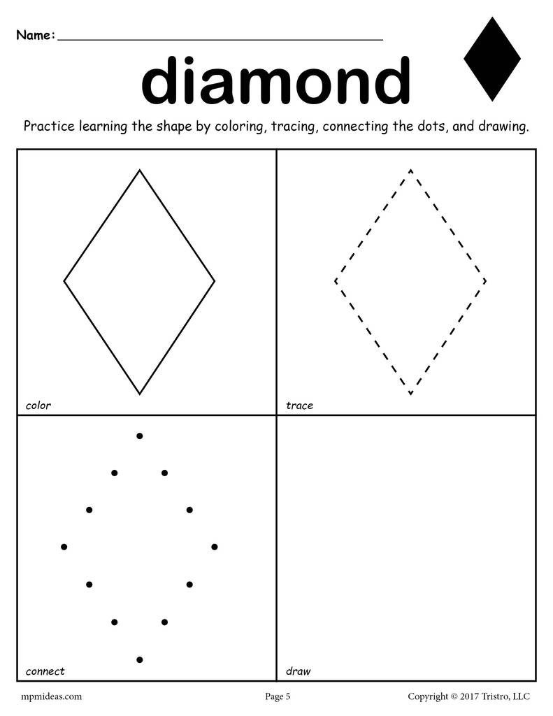Diamond Shape Worksheet Color Trace Connect & Draw