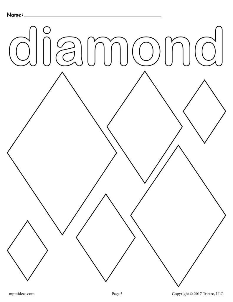 Various 20Shapes 20coloring 20pages diamond 1024x1024
